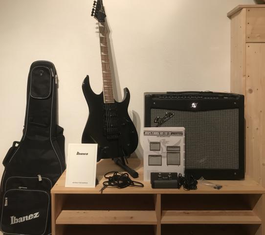 Ibanez RG370DXZ-BK with Fender Mustang